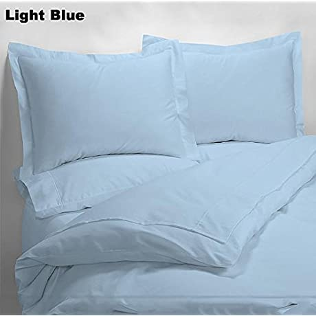 Luxury 600 Thread Counts 7pc Bed In A Bag With 300GSM Comforter Hospital Size Light Blue Solid 100 Egyptian Cotton By PARADISEHOUSE