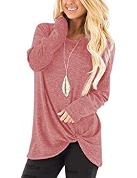 Women's Comfy Casual Long Sleeve Side Twist Knotted Tops Blouse