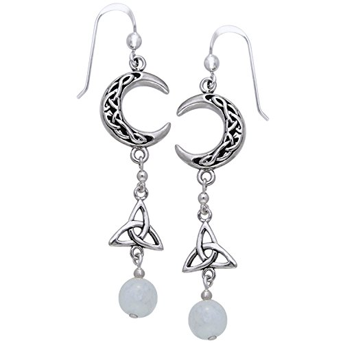 Sterling Silver Celtic Knot Crescent Moon, Trinity Knot, and Rainbow Moonstone Beaded Earrings