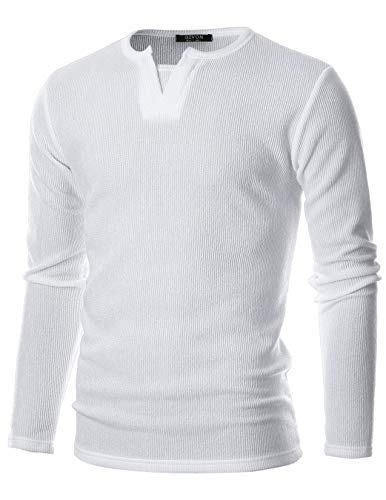 (GIVON Mens Slim Fit Long Sleeve Soft Blend Henley Y-Neck Pullover Sweater/DCP066-WHITE-M)