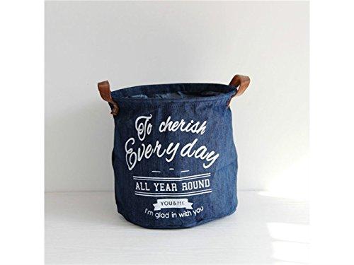 Gelaiken Lightweight Denim Storage Basket Pattern Storage Bag Denim Storage Box Sundries Storage Bucket(Navy Blue) by Gelaiken (Image #5)
