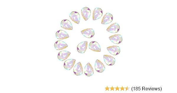 50 x Pink Sew on Acrylic Tear Drop Diamante Crystal Gems Rhinestone 7x15mm #1