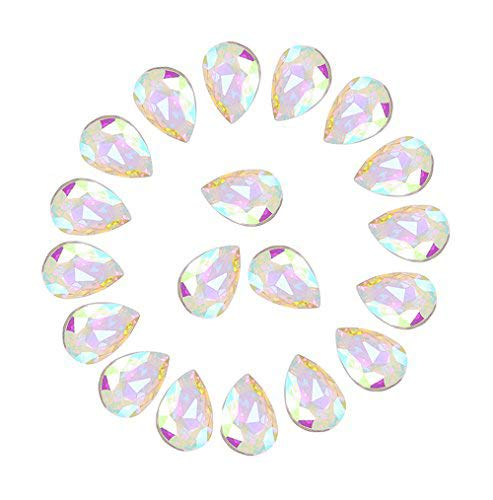 Jyukan DIY Teardrop Crystal AB Resin Rhinestone Pointback Glass Faceted Jewelry Making Craft (50Pcs)
