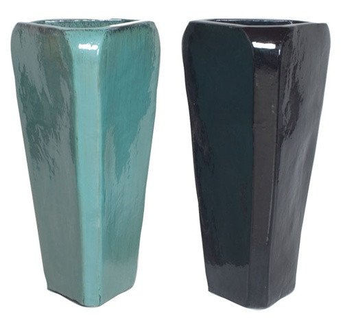 Tall Triangle Ceramic Planter - Black or Teal by Emissary