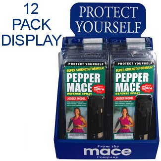 12 ~ MACE® Brand Pepper Mace Spray 80329 JOGGER MODEL 18 gram Key Chain Canisters with Hand-Grip 12-Count Counter Display / Family Pack Lot (PLEASE SEE SHIPPING RESTRICTIONS BEFORE ORDERING) (Jogger Mace Model)