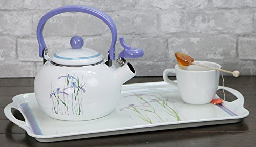 Corelle Coordinates by Reston Lloyd Harmonic Hum Alert Whistling Teakettle with Fold Down Handle, 2-Quart, Shadow Iris by Reston Lloyd (Image #2)