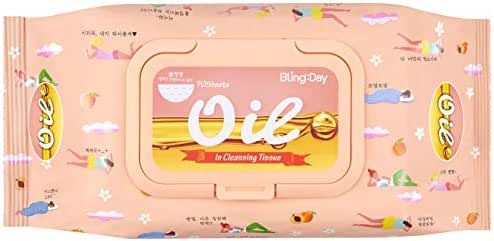 Bling Day Oil Facial Wipe Cleansing Tissue Face Makeup Remover Embossed Spunlace Fabric Contains Apricot Seed Oil Made in Korea Cosmetic (70 Count)