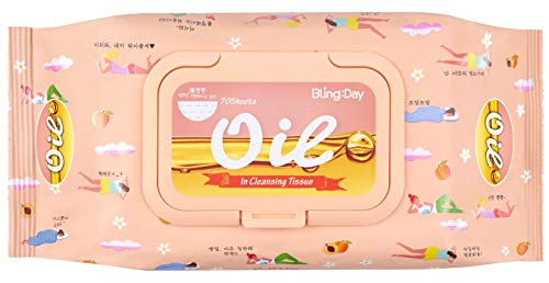 Bling Day Oil Facial Wipe Cleansing Tissue Face Makeup Remover Embossed Spunlace Fabric Contains Apricot Seed Oil Made in Korea Cosmetic (70 Count) ()