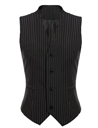 Gumod Women's Waistcoat Fully Lined 4 Button V-Neck Economy Dressy Suit Formal Business Vest,Black Pinstripe,XX-Large