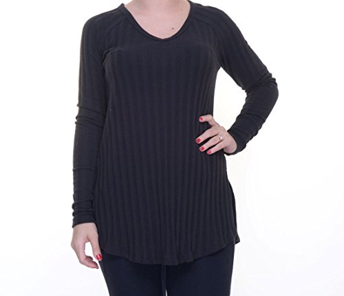 Planet Gold Womens Juniors Ribbed Knit V-Neck Tunic Sweater Black M
