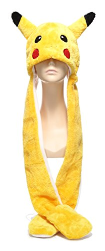 [Funnie Varied Animal Hats Gloves Scarf 3 In 1 Set -Costume Hood Toy(Pikachu)] (Wolf Head Hat)