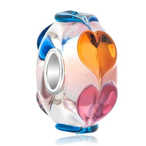 LilyJewelry Colorful Hearts Murano Glass 925 Sterling Silver Charm Beads For Bracelets