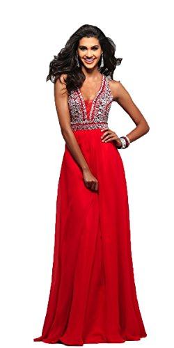 Faviana V-Neck Chiffon Gown Red - 2