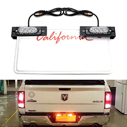 iJDMTOY License Plate Mount Amber LED Warning Light Kit For Truck SUV Car, Including License Mounting Brackets, 2 sets 4-CREE High Power LED Strobe Lamps (Amber Plates)