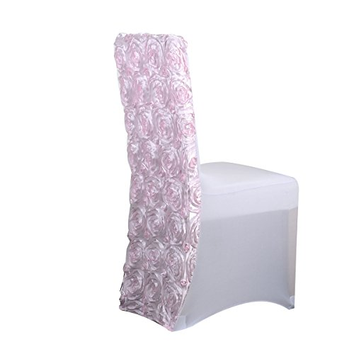 (Fuzzy Fabric Rosette Spandex Chair Cover, Light Pink - 5pcs)