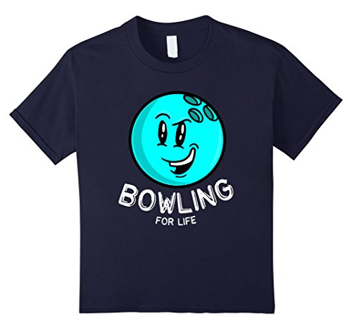- Kids Bowling for Life Blue Ball Emoticon Gift for Bowlers T-shirt 12 Navy