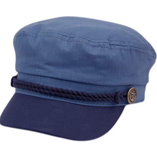Epoch Men's Summer Cotton Greek Fisherman Sailor Fiddler Driver Hat Flat Cap (Indigo Blue/Navy)