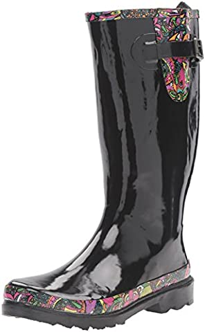 The SAK Women's Rhythm Rain Shoe, Black Rainbow Spirit Desert, 9 M US - Wellies