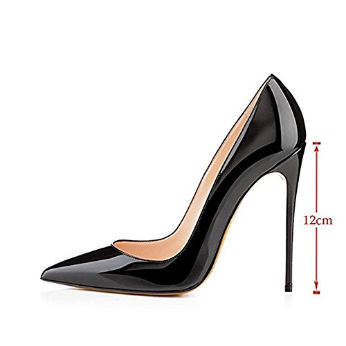 Black Shoes Women High Leather Dress Patent Party Heels Toe Pumps Wedding MIUINCY Pointed for Stiletto Closed gyZqTq