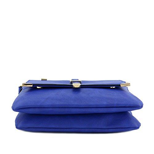 Crossbody Bag Flap Blue Compartment Royal Double Pocket wqfOvAtT
