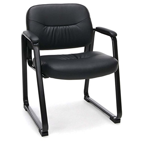 Bowery Hill Leather Executive Sled Base Reception Arm Chair by Bowery Hill