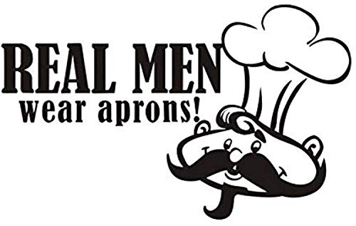 Profit Decal Bearded Chef with Hat Detachable Restaurant Home DIY True Men's Apron Art Applique Wall Decals Decor Vinyl Sticker Q11499 ()