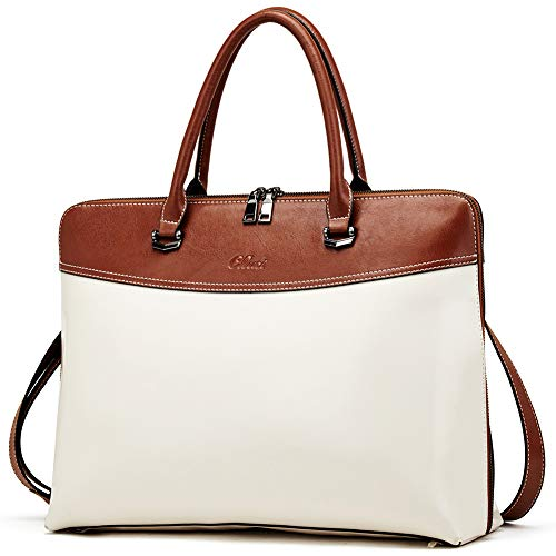 CLUCI Briefcase for Women Oil Wax Leather 15.6 Inch Laptop...