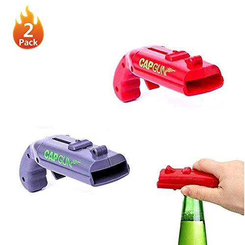 TBZZXC 2 Pack Cap Gun Bottle Opener,Creative Bottle Cap Gun Opener Beer Plastic Bottle Opener Cap Gun Launcher,for Home Bar Party Drinking Game