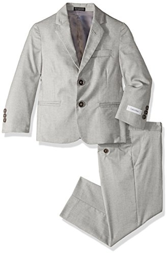 (Calvin Klein Big Boys' Two Piece Suit Set, Light Grey Weave, 16)