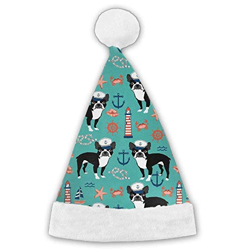 quariryw Boston Terrier Dog Xmas Christmas Christmas Santa Hat Holiday Theme Hats 3D Graphic Printed Adults Children