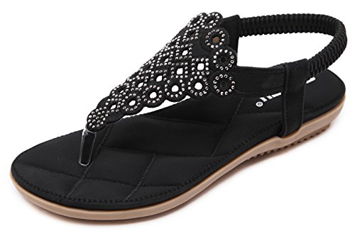 (Women's Summer Thong Flat Sandals Glitter Rhinestones, Black T-Strap Flip Flops Bohemian Floral Rivets Comfy Elastic Back Strap, Anti Skid Cushioned Low Top Beach Wear Shoes 2018 Holiday Match,Black,7.5 M US)
