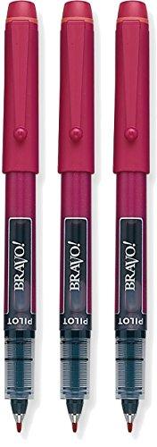 Pilot Bravo Liquid Ink Marker Pens, Bold Point, Red Ink, 3-PACK(11036)