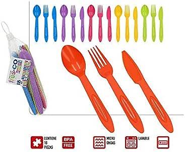 Cubiertos de Plástico Duro, Reutilizables, para Camping, de Colores. Diseño Práctico. Set de 18 (8cm X 18cm) - Hogar y Más: Amazon.es: Hogar