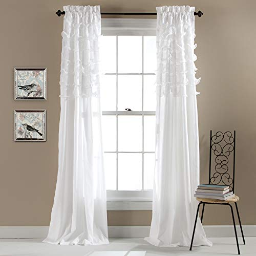Lush Decor Avery Curtains Ruffled Shabby Chic Style Window Panel Set for Living, Dining Room, Bedroom (Pair), 84 by 54-Inch, White (Window Curtains Style)