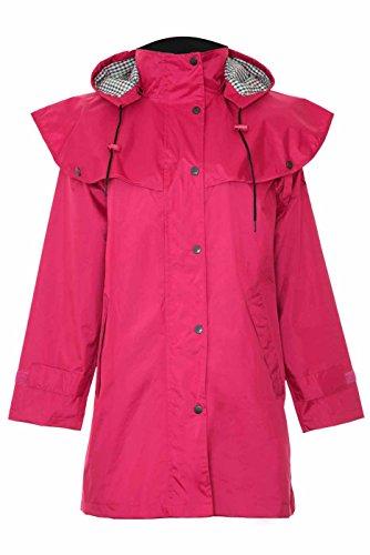 Damen Riding Coats leicht wasserdicht mit Innenseite Futter und abnehmbare Kapuze 3Quarter Länge (16, rot)