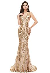 Gold_2 V-Neck Sequin Sleeveless Lace-up Mermaid Dress