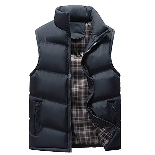 Sunhusing Men Casual Simple Stand Collar Pure Color Zipper Pocket Sleeveless Jacket Top Waistcoat -
