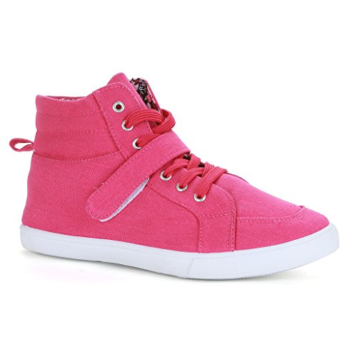 Twisted Womens LANE Canvas Hi-Top Sneaker with Ankle Strap Fuscia uY0nVFZj