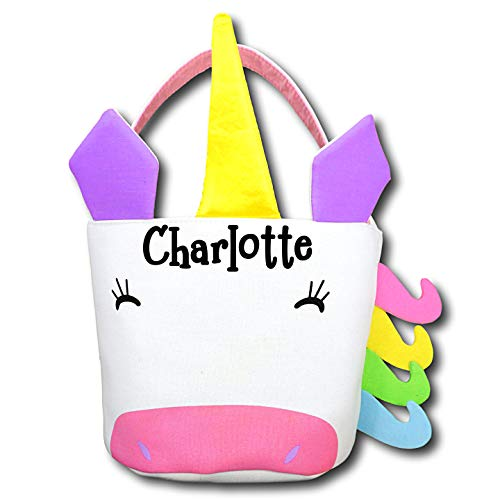 (The Trendy Turtle Personalized Unicorn Halloween Candy Basket with Rainbow Accents Birthday Party or Easter Basket Tote Bag Gift Bucket - Your Choice of Free)