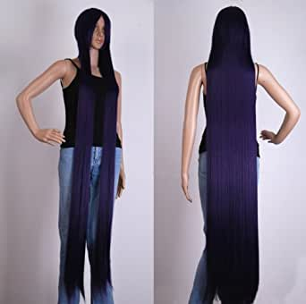 "COSPLAY INSHOP 60"" Straight Extra Long Dark Purple Cosplay Wig"