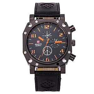 ZA Men's Round Dial Case Leather Watch Brand Fashion Quartz Watch(Delivery color random)