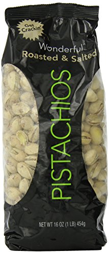 Wonderful Pistachios,16-ounce bag, Roasted and salted.