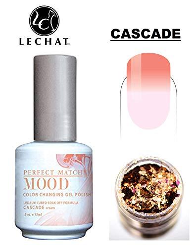 LeChat Perfect Match Mood Color Changing Gel Polish (with Nail Glitter Kit) LED & UV Cured Soak Off Nail Formula 0.5 oz (Cascade)