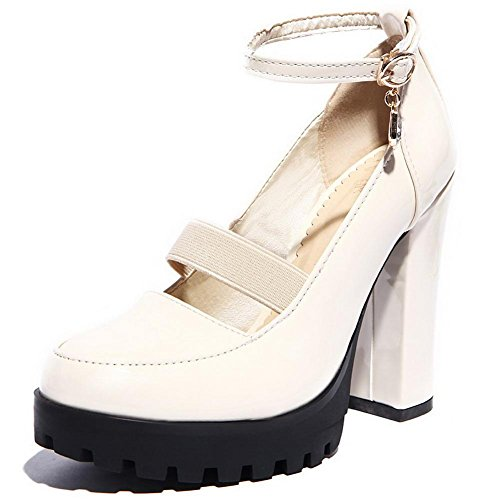 Toe Closed Shoes Buckle WeenFashion Beige Round Heels Pumps PU Solid Women's High w4qwpT8