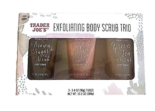 Trader Joe's Exfoliating Body Scrub Trio 3-3.4 Oz Tubes Brown Sugar Scrub, Citrus Scrub, Green Tea Scrub Gift Set
