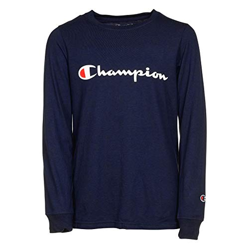 Champion Boys Heritage Long Sleeve Script Logo Tee Shirt (Small, Navy)