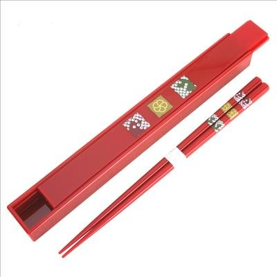 Japanese Lacquer Chopsticks Chop stick Travel w/ case Red ()