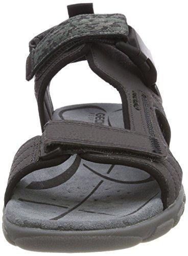 Geox Men's Uomo Strada a Ankle Strap Sandals, Navy Grey (Dk Grey C9002)