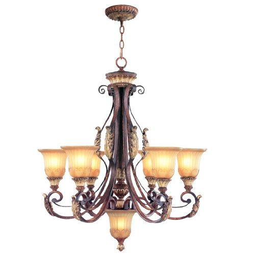 Accents Light Six Chandelier (Livex Lighting 8576-63 Villa Verona 6 Light Verona Bronze Finish Chandelier with Aged Gold Leaf Accents and Rustic Art Glass)