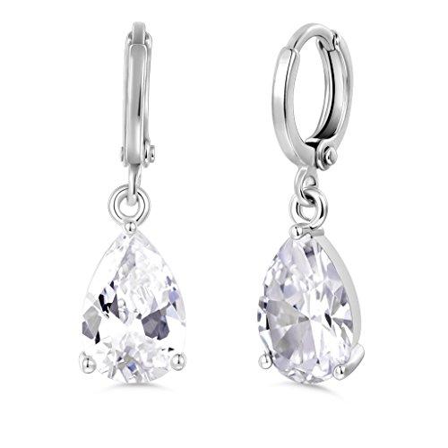GULICX White CZ Clear Zircon White Gold Tone Pear Drop Bridal Party Sparkle Dangle Earring (White Zircon Pear)